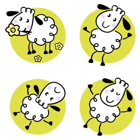 Doodle sheep collection in circles. Vector cartoon Vector