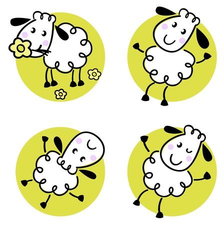 baby lamb: Doodle sheep collection in circles. Vector cartoon