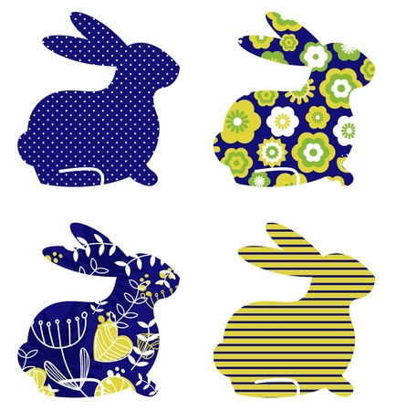 lapin dessin: Printemps motif lapin collection. Vecteur