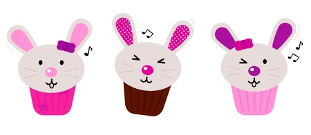 Funny singing easter bunnies for your party! Vector cartoon Illustration Vector