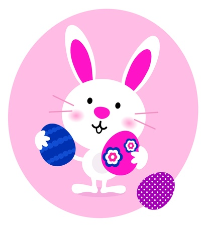 Cute cartoon eastern bunny. Vector