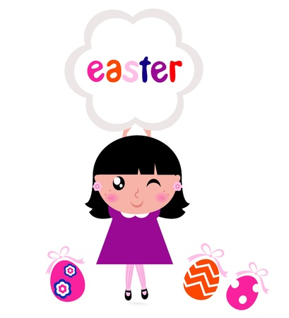 april beautiful: Girl with easter banner and eggs. Vector cartoon Illustration. Illustration