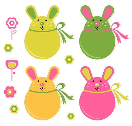 Easter bunnies collection isolated on white. Vector Stock Vector - 12838986
