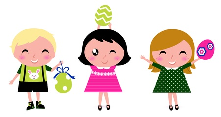 three children: Happy easter kids with eggs. Vector cartoon
