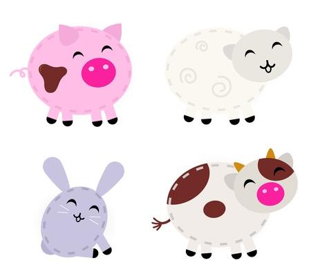 piglet: Pig, sheep, rabbit and cow - cartoon vector animals. Illustration