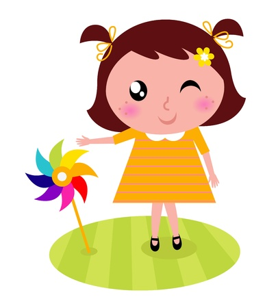 wind mills: Spring girl with wind mill. Vector cartoon Illustration