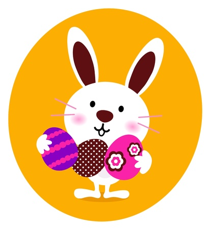april beautiful: Little cute easter Bunny with eggs. Vector cartoon.