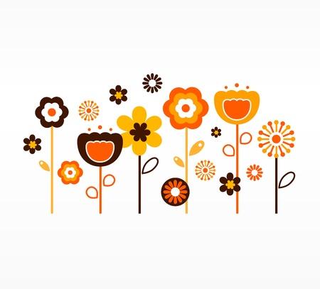 レトロな庭の花。ベクトル  イラスト・ベクター素材
