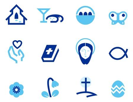 cristianismo: Iconos estilizados de pascua y cristiana. Vector Vectores