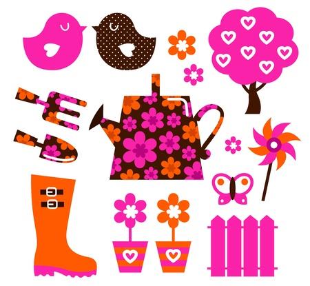 regando el jardin: Los iconos de la primavera y el cultivar un huerto establecido. Vector
