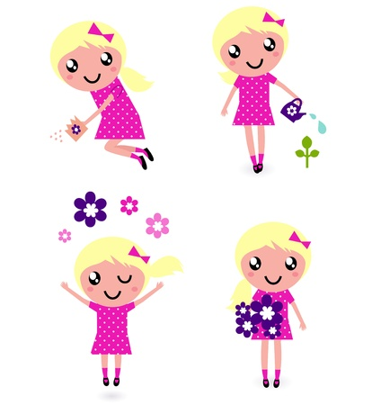 Little gardener Girl. Vector illustration in retro style Vector