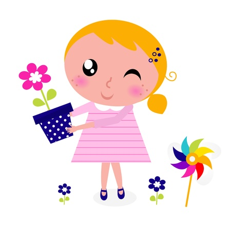 april beautiful: Little cute child holding flower. Vector cartoon