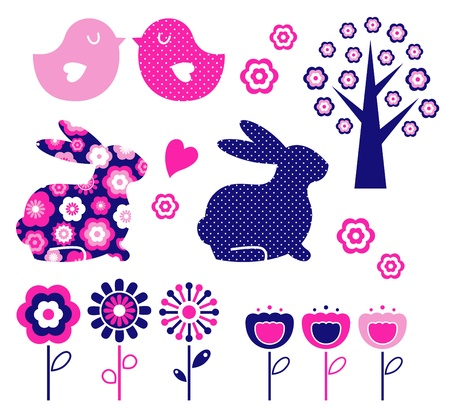 Spring and easter elements isolated on white. Vector Illustration