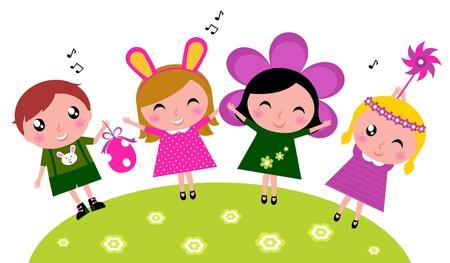 Conejito de pascua los niños en trajes. Vector ilustración de dibujos animados.