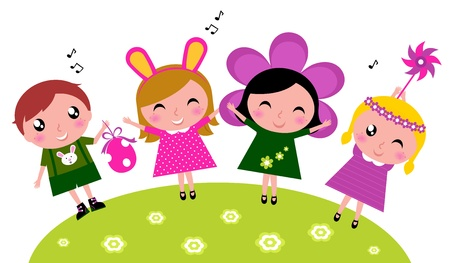 ni�o cantando: Conejito de pascua los ni�os en trajes. Vector ilustraci�n de dibujos animados.
