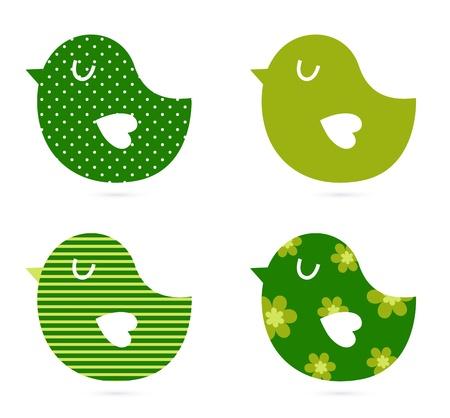 aves: Retro patterned birds. Vector Illustration