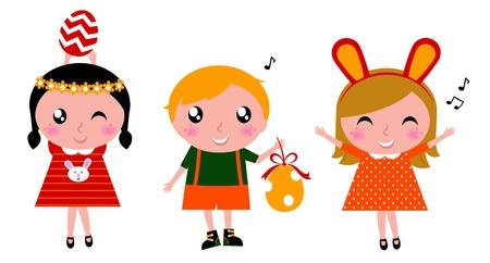 european rabbit: Happy easter kids party. Vector cartoon