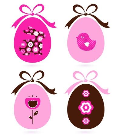 Cute floral easter egg elements. Vector cartoon Vector