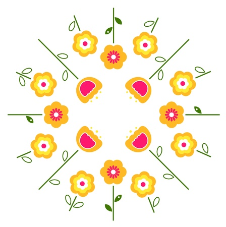 yellow vector: Yellow and pink flowers in circle isolated on white. Vector