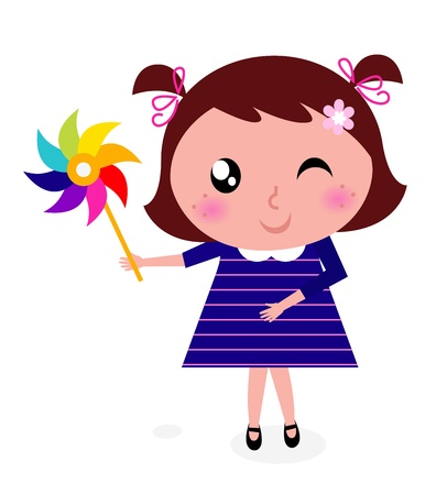 pinwheel toy: Spring girl with wind mill. Vector cartoon Illustration