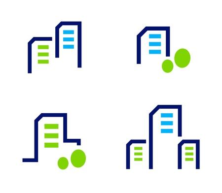 Los iconos de casas residenciales. Ilustraciones Vectoriales