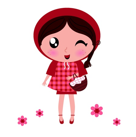simple girl: Cute cartoon Red riding hood. Vector illustration. Illustration