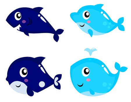 whale underwater: Collection of ocean sea life including Shark, Dolphin, Whale and Orca. Illustration