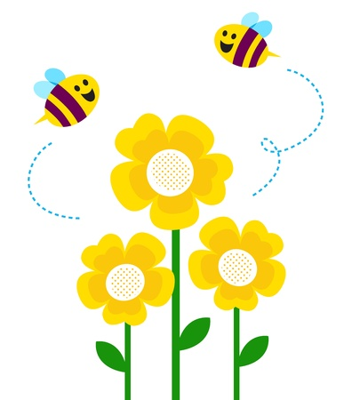 with pollen: Bees and yellow flowers. Vector cartoon