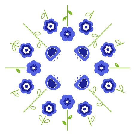 retro flowers: Blue flowers in circle isolated on white. Vector