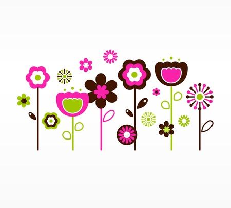 Fleurs du jardin. Illustration Vecteur.