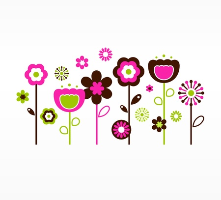field of flowers: Garden flowers. Vector Illustration. Illustration