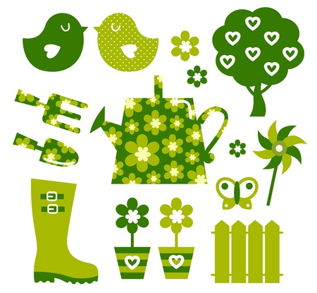 rain boots: Elementos del dise�o del jard�n aislado en blanco. Vector