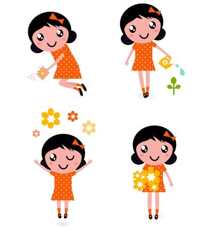 sonrisa hermosa: Chica peque�o jardinero. Ilustraciones Vectoriales