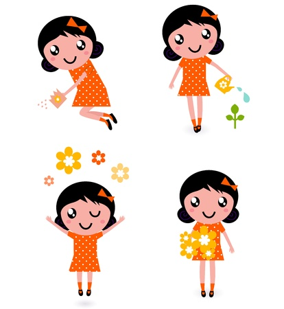 woman jump: Little gardener Girl. Vector Illustration