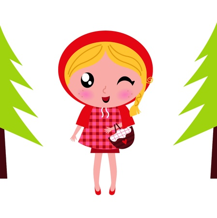 cartoon little red riding hood: Red riding hood - vector cartoon illustration.