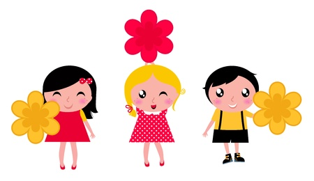 Cute children holding flower. Vector cartoon illustration Vector