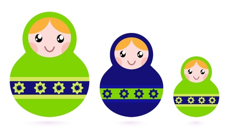 nested: Russian nested dolls collection. Vector
