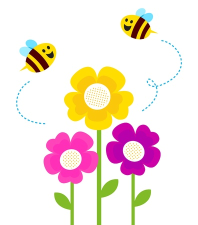 Bees flying closely colorful flowers. Vector Vector