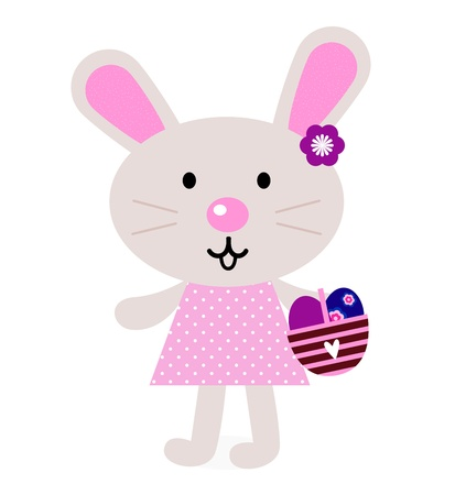 Cute retro easter bunny. Vector Illustration Vector