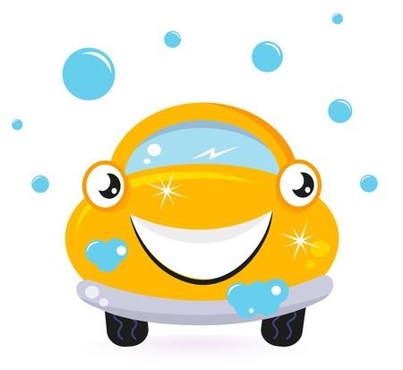 autolavaggio: Servizi di lavaggio auto, auto fumetto giallo. Vettore