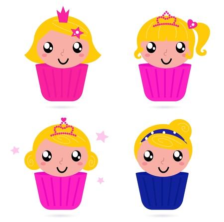 Peque�os pasteles de la princesa para su partido! Vector de dibujos animados