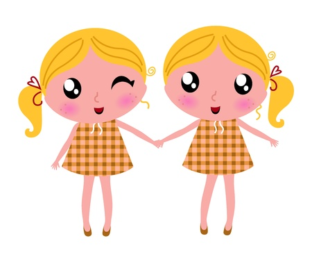 twins: Its wonderful to be twice! Vector cartoon Illustration. Illustration