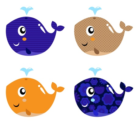 cartoon whale: Four stylized patterned whale collection. Vector