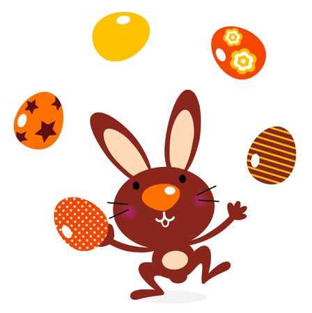 jugglery: Brown bunny with easter eggs. Vector cartoon