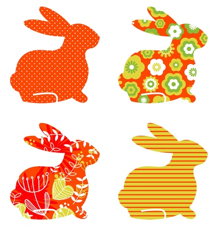 Easter abstract bunny collection. Vector Ilustração