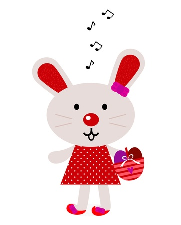 Cute retro easter bunny female. Vector Illustration Stock Vector - 13085588