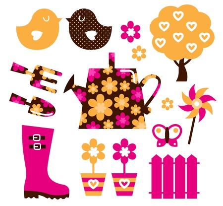 botas de lluvia: Los iconos de la primavera y el cultivar un huerto establecido. Vector
