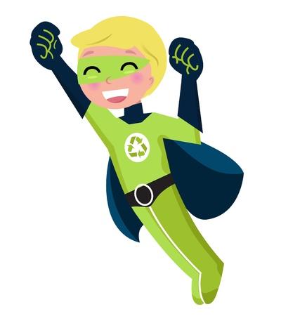 ecological damage: Cute little superhero boy support recycling. Vector cartoon