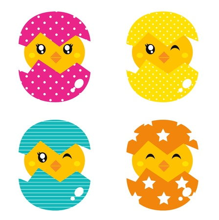 Cute collection of spring chicken in eggs. Vector Vector