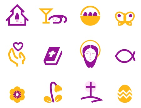 catholicism: Stylized easter and christian icons. Vector